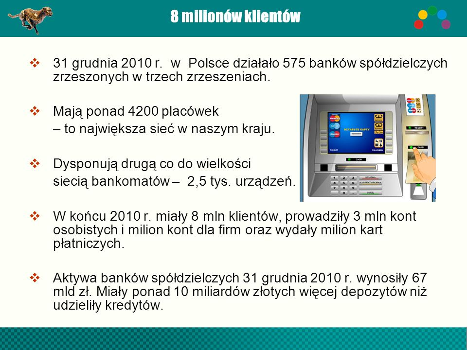 8 milionów klientów 31 grudnia 2010 r. w Polsce działało 575 banków spółdzielczych zrzeszonych w trzech zrzeszeniach.