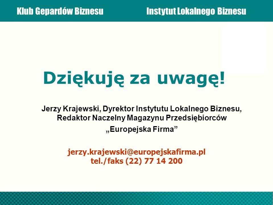 Dziękuję za uwagę! Jerzy Krajewski, Dyrektor Instytutu Lokalnego Biznesu, Redaktor Naczelny Magazynu Przedsiębiorców.
