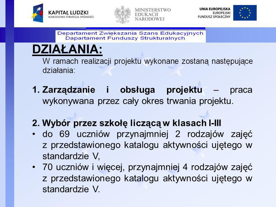 DZIAŁANIA: W ramach realizacji projektu wykonane zostaną następujące działania: