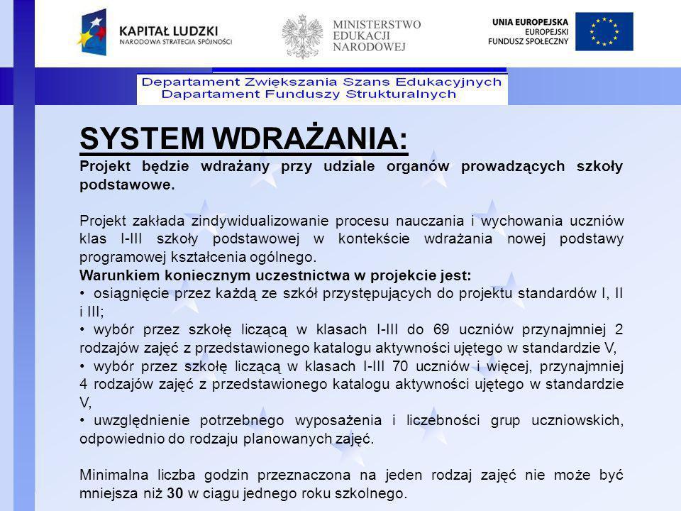 SYSTEM WDRAŻANIA: Projekt będzie wdrażany przy udziale organów prowadzących szkoły podstawowe.