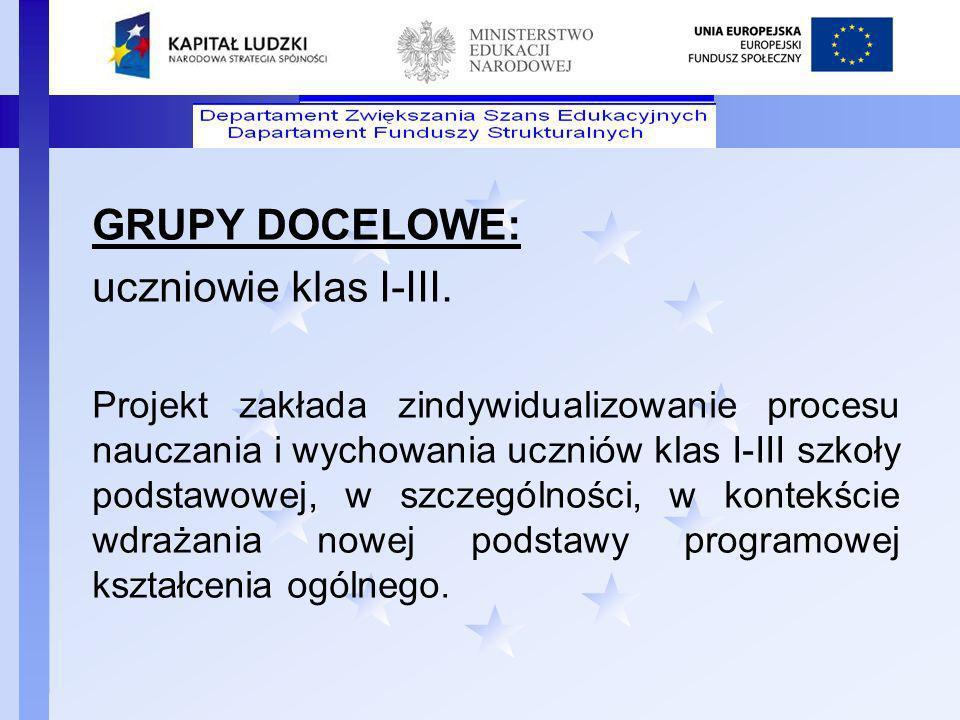 GRUPY DOCELOWE: uczniowie klas I-III.