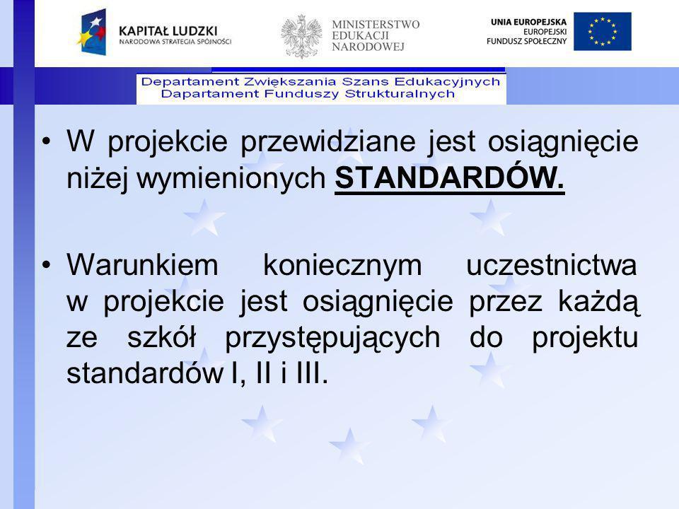 W projekcie przewidziane jest osiągnięcie niżej wymienionych STANDARDÓW.