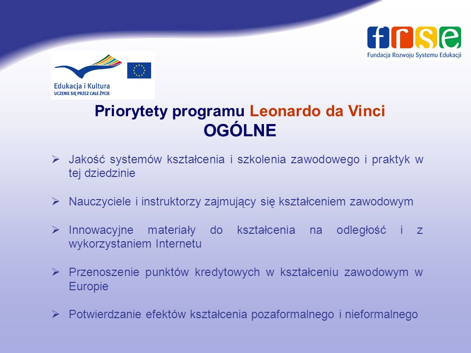 Priorytety programu Leonardo da Vinci