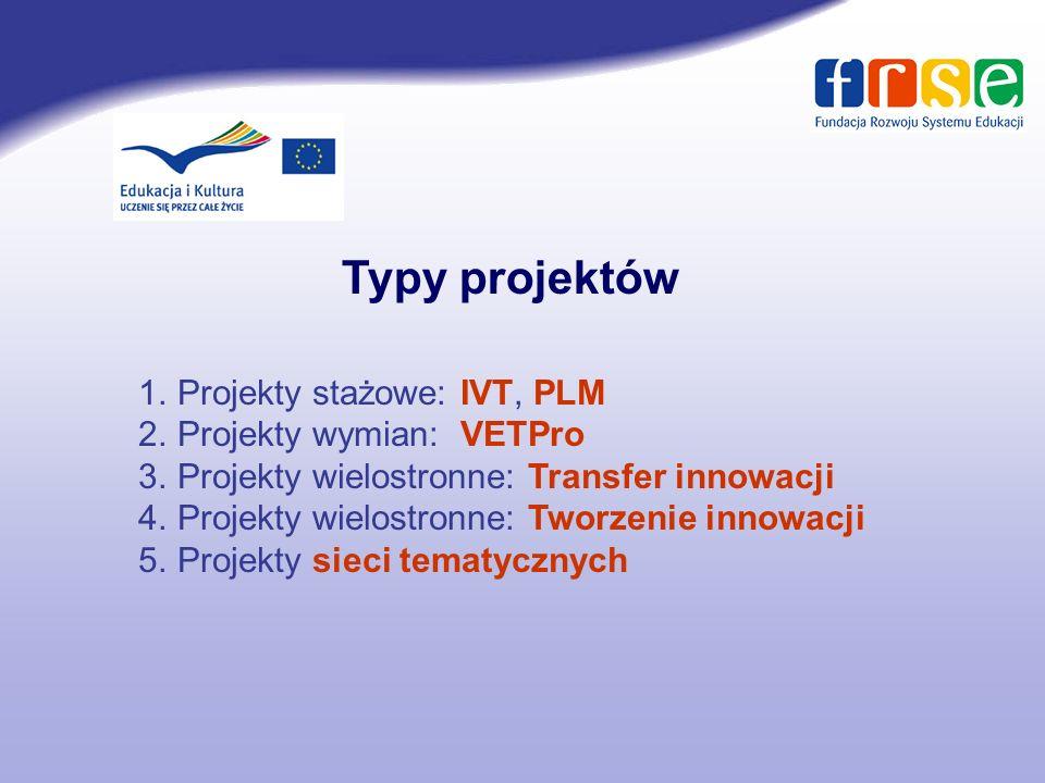 Typy projektów Projekty stażowe: IVT, PLM Projekty wymian: VETPro