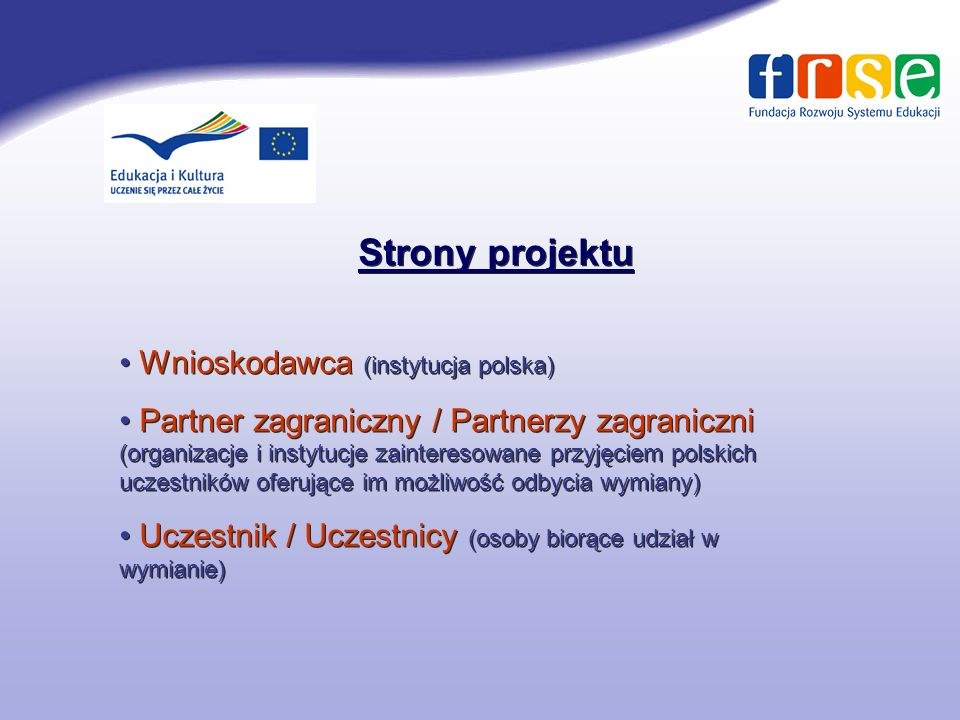 Strony projektu Wnioskodawca (instytucja polska)