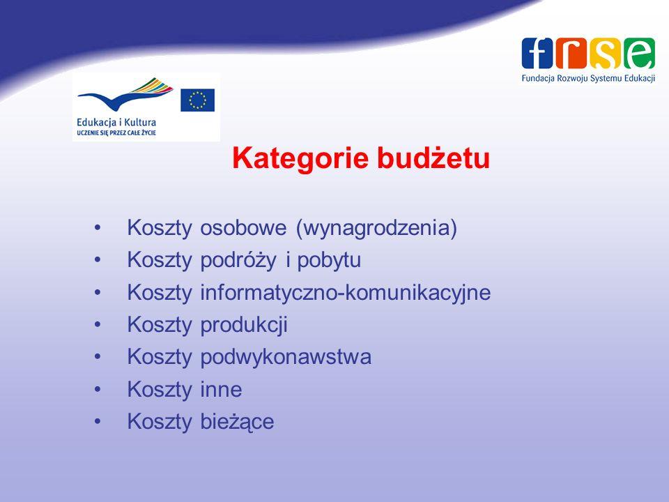 Kategorie budżetu Koszty osobowe (wynagrodzenia)
