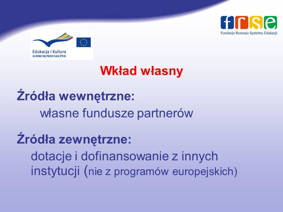 Wkład własny Źródła wewnętrzne: własne fundusze partnerów. Źródła zewnętrzne: