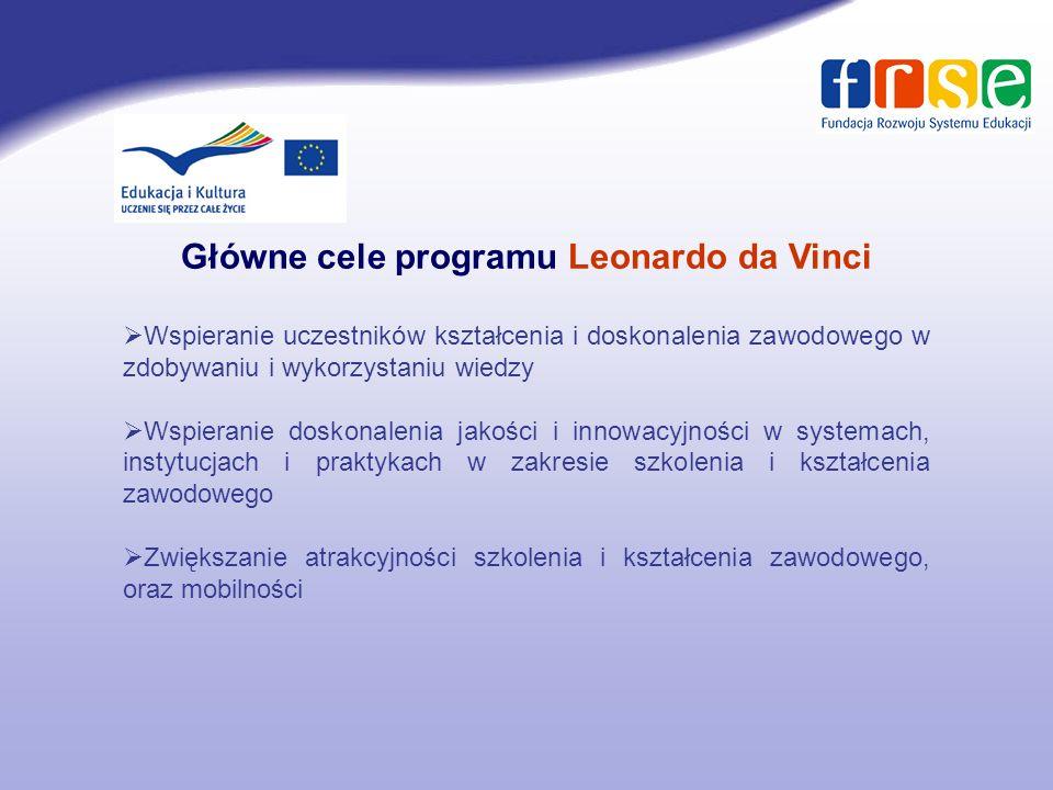 Główne cele programu Leonardo da Vinci