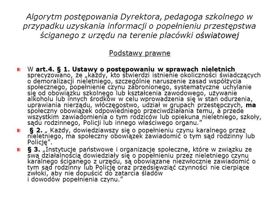 Algorytm postępowania Dyrektora, pedagoga szkolnego w przypadku uzyskania informacji o popełnieniu przestępstwa ściganego z urzędu na terenie placówki oświatowej
