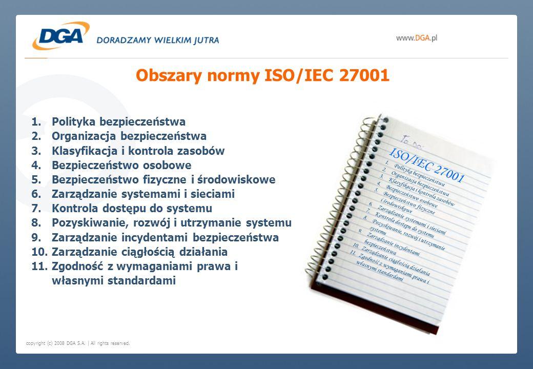 Obszary normy ISO/IEC 27001 ISO/IEC 27001 Polityka bezpieczeństwa