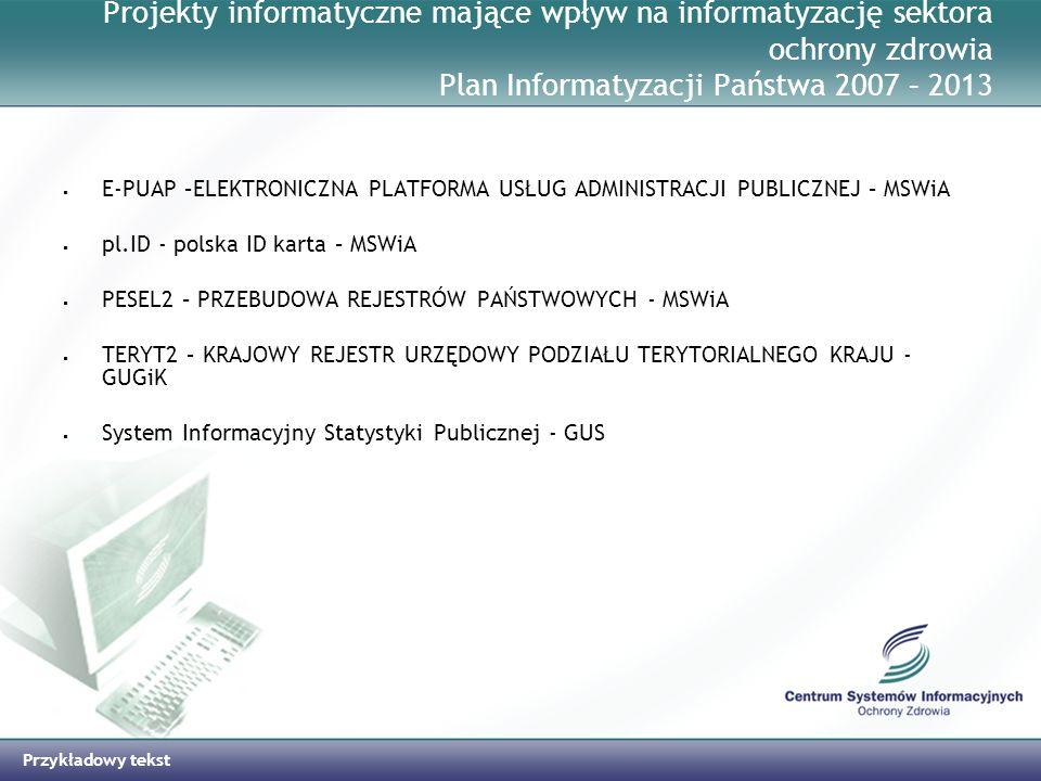 Projekty informatyczne mające wpływ na informatyzację sektora ochrony zdrowia Plan Informatyzacji Państwa 2007 – 2013