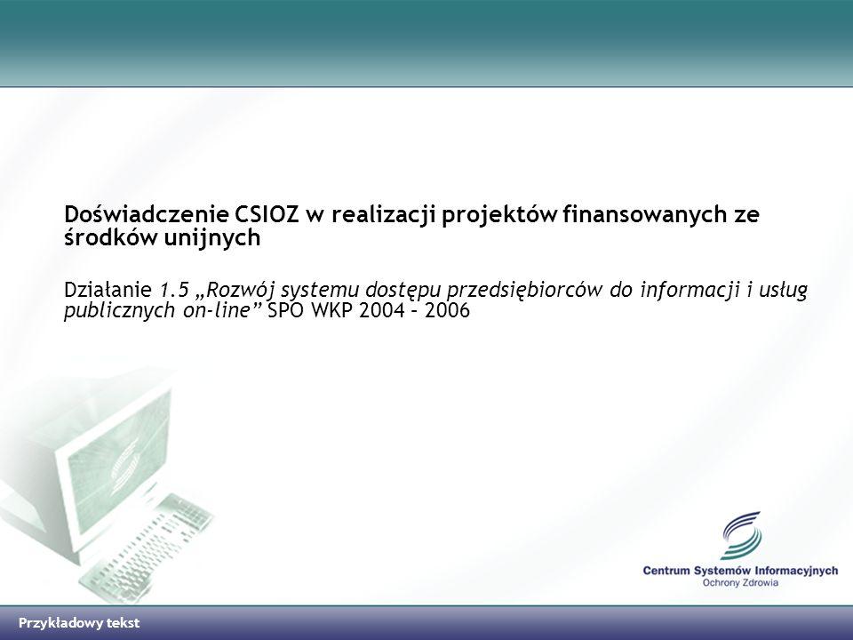 Doświadczenie CSIOZ w realizacji projektów finansowanych ze środków unijnych
