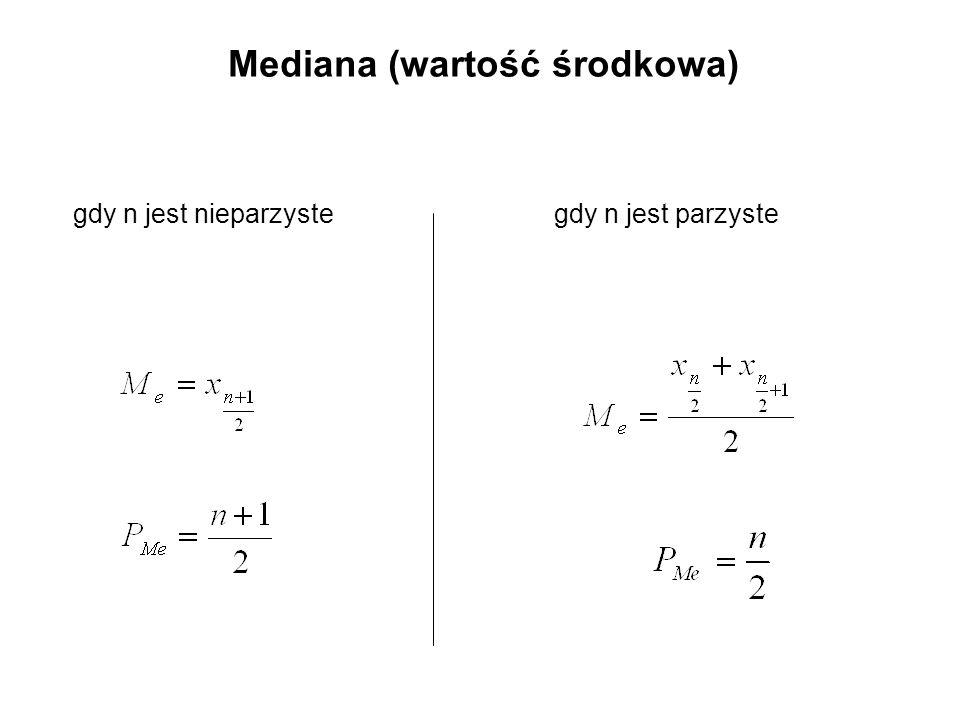 Mediana (wartość środkowa)