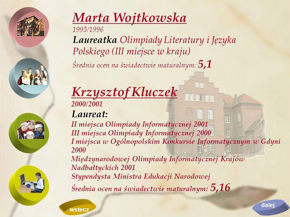 Marta Wojtkowska Krzysztof Kluczek Laureat:
