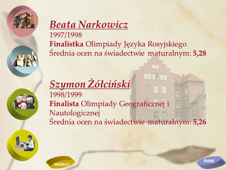 Beata Narkowicz Szymon Żółciński 1997/1998