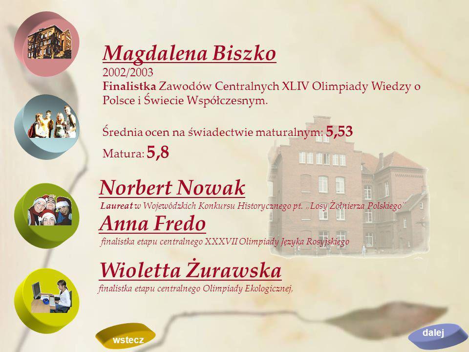 Magdalena Biszko 2002/2003. Finalistka Zawodów Centralnych XLIV Olimpiady Wiedzy o Polsce i Świecie Współczesnym.