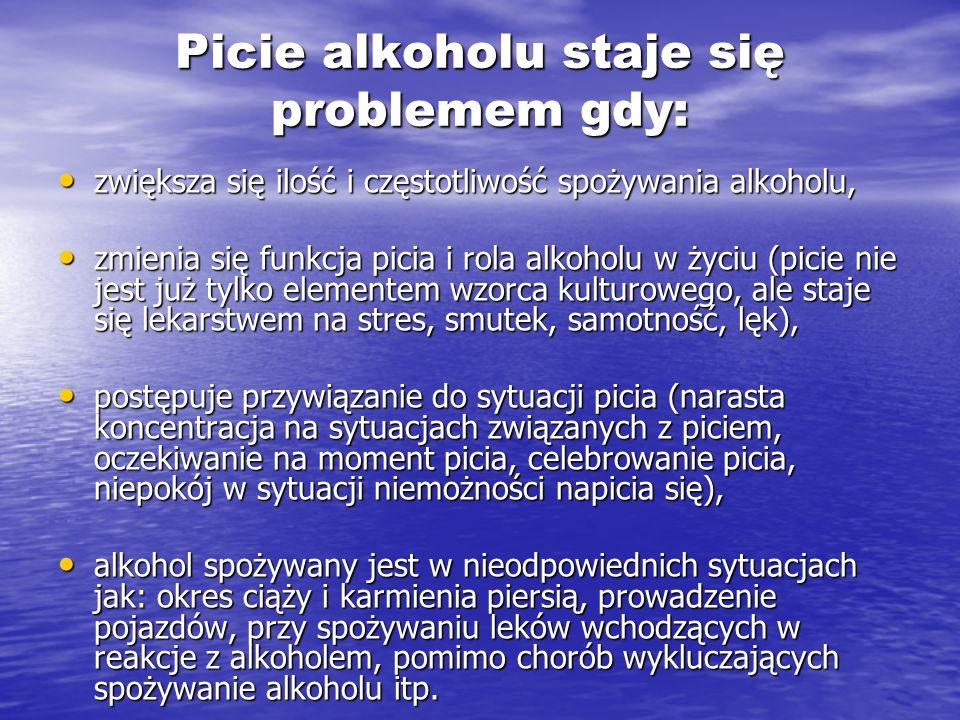 Picie alkoholu staje się problemem gdy: