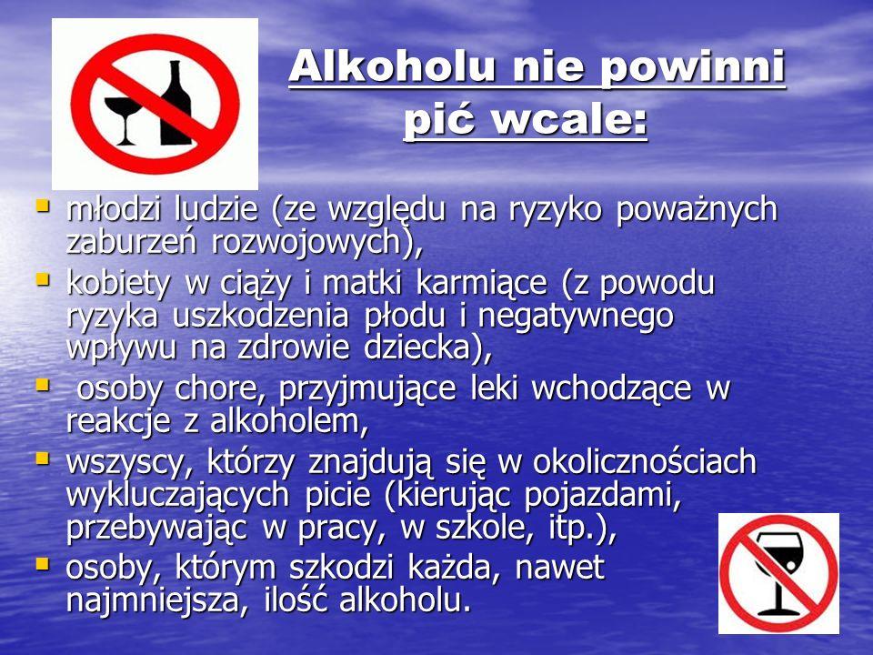Alkoholu nie powinni pić wcale: