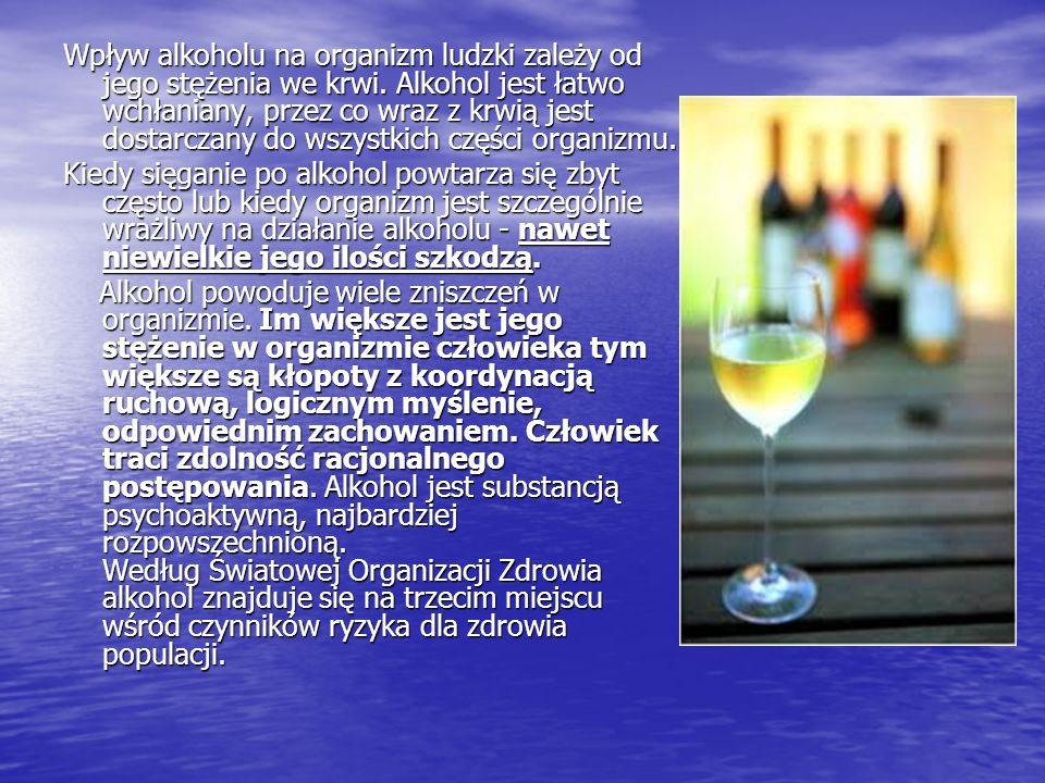 Wpływ alkoholu na organizm ludzki zależy od jego stężenia we krwi