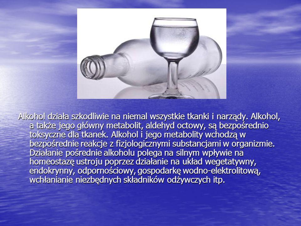 Alkohol działa szkodliwie na niemal wszystkie tkanki i narządy