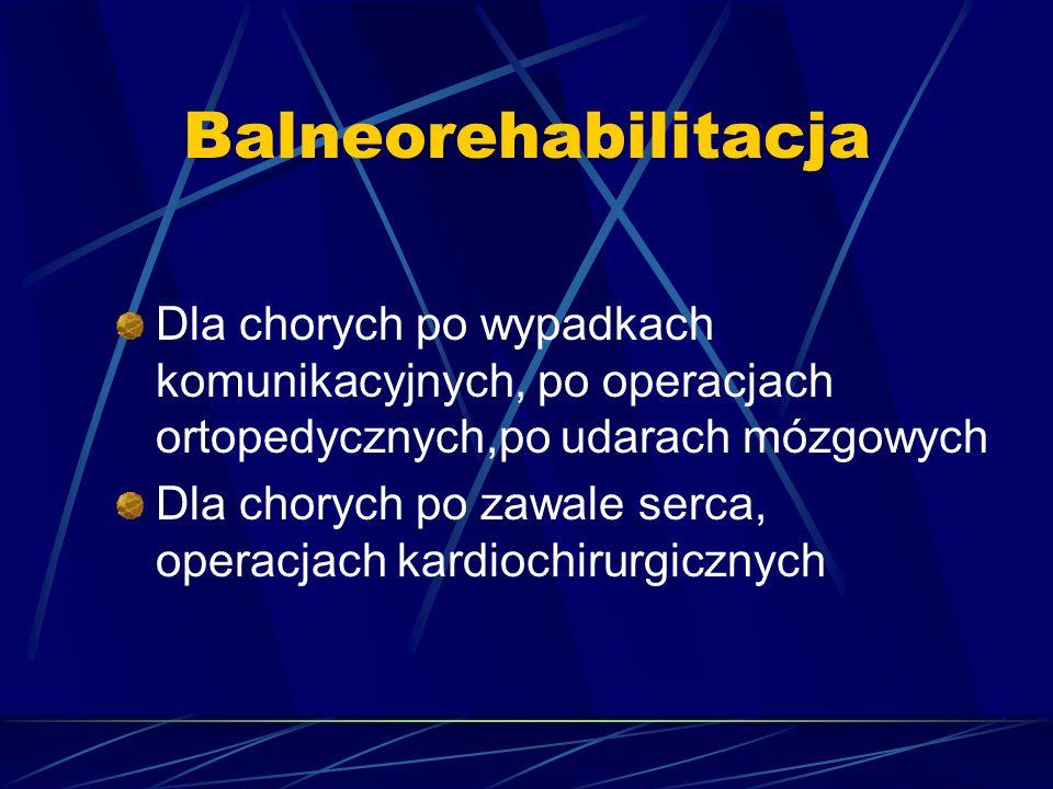 Balneorehabilitacja Dla chorych po wypadkach komunikacyjnych, po operacjach ortopedycznych,po udarach mózgowych.