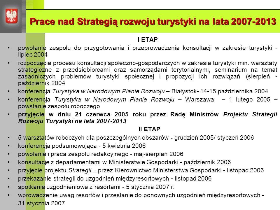 Prace nad Strategią rozwoju turystyki na lata 2007-2013
