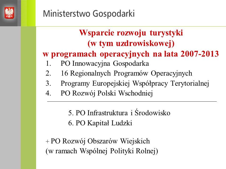 Wsparcie rozwoju turystyki (w tym uzdrowiskowej) w programach operacyjnych na lata 2007-2013