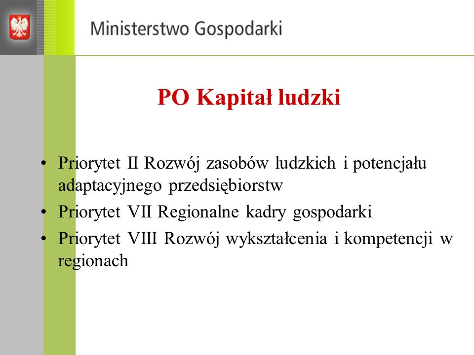 PO Kapitał ludzki Priorytet II Rozwój zasobów ludzkich i potencjału adaptacyjnego przedsiębiorstw. Priorytet VII Regionalne kadry gospodarki.