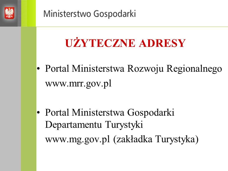 UŻYTECZNE ADRESY Portal Ministerstwa Rozwoju Regionalnego