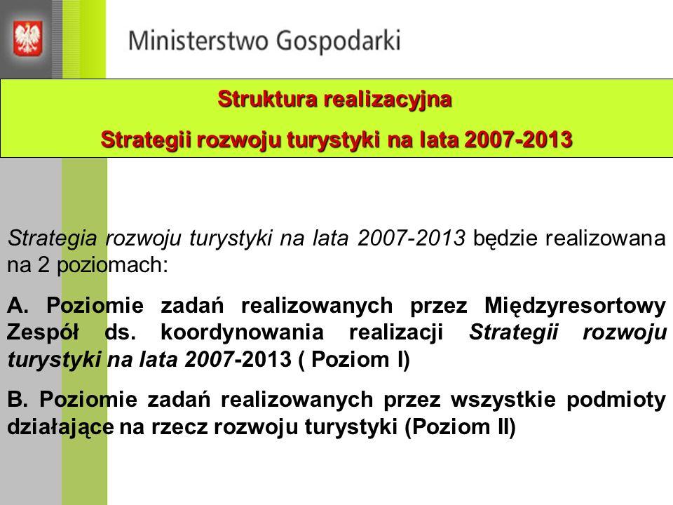 Struktura realizacyjna Strategii rozwoju turystyki na lata 2007-2013