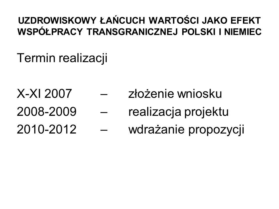 X-XI 2007 – złożenie wniosku 2008-2009 – realizacja projektu