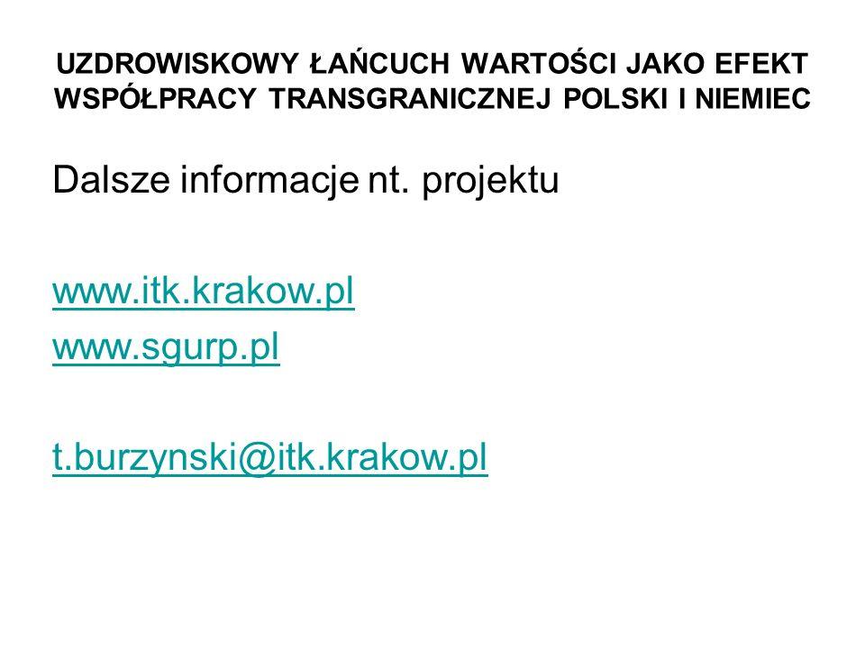 Dalsze informacje nt. projektu www.itk.krakow.pl www.sgurp.pl