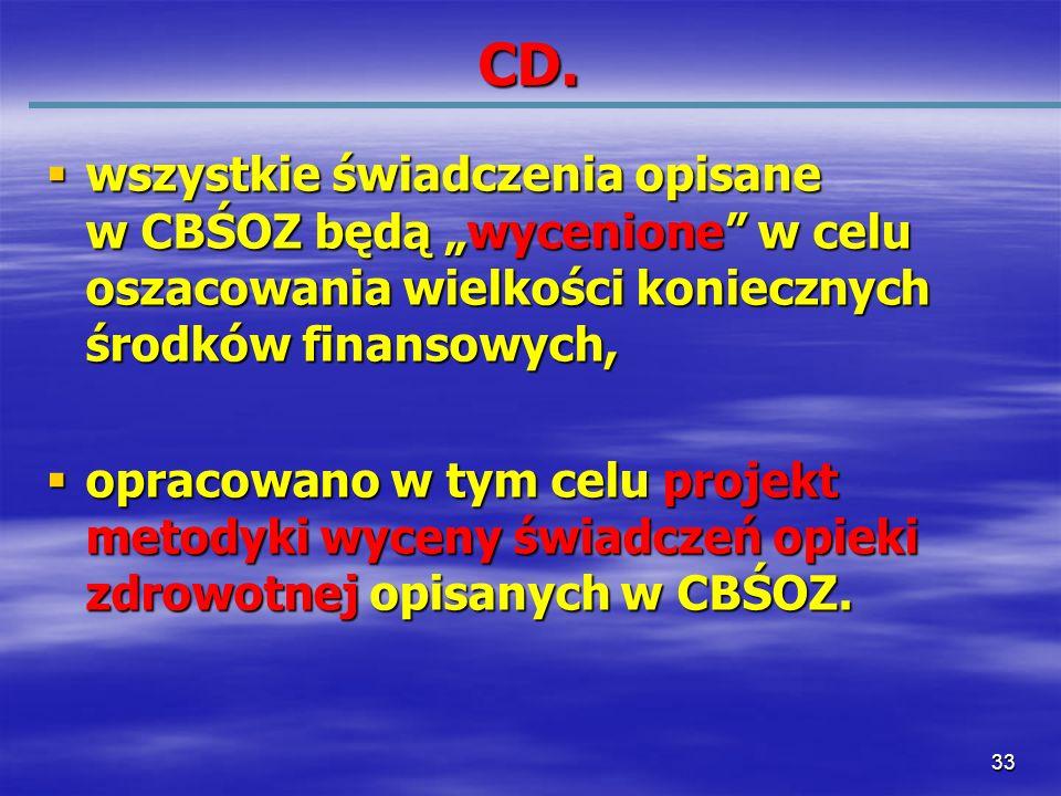 """CD. wszystkie świadczenia opisane w CBŚOZ będą """"wycenione w celu oszacowania wielkości koniecznych środków finansowych,"""