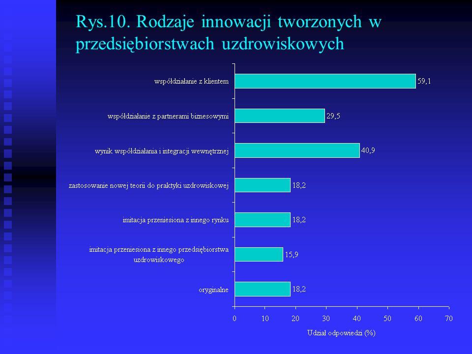 Rys.10. Rodzaje innowacji tworzonych w przedsiębiorstwach uzdrowiskowych