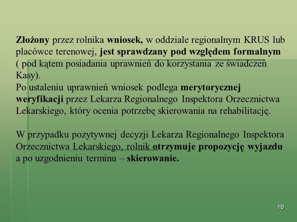 Złożony przez rolnika wniosek, w oddziale regionalnym KRUS lub placówce terenowej, jest sprawdzany pod względem formalnym ( pod kątem posiadania uprawnień do korzystania ze świadczeń Kasy).
