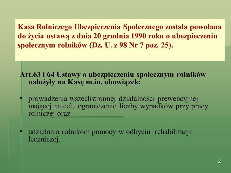 Kasa Rolniczego Ubezpieczenia Społecznego została powołana do życia ustawą z dnia 20 grudnia 1990 roku o ubezpieczeniu społecznym rolników (Dz. U. z 98 Nr 7 poz. 25).