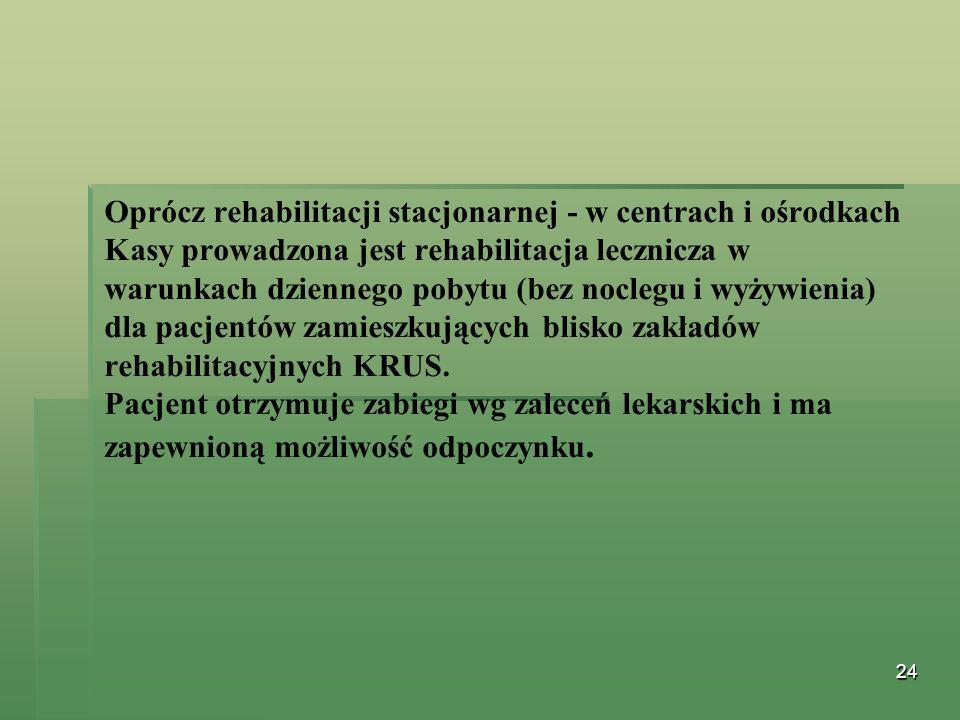 Oprócz rehabilitacji stacjonarnej - w centrach i ośrodkach Kasy prowadzona jest rehabilitacja lecznicza w warunkach dziennego pobytu (bez noclegu i wyżywienia) dla pacjentów zamieszkujących blisko zakładów rehabilitacyjnych KRUS.