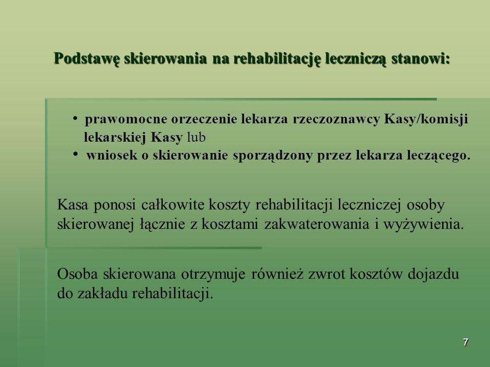 Podstawę skierowania na rehabilitację leczniczą stanowi:
