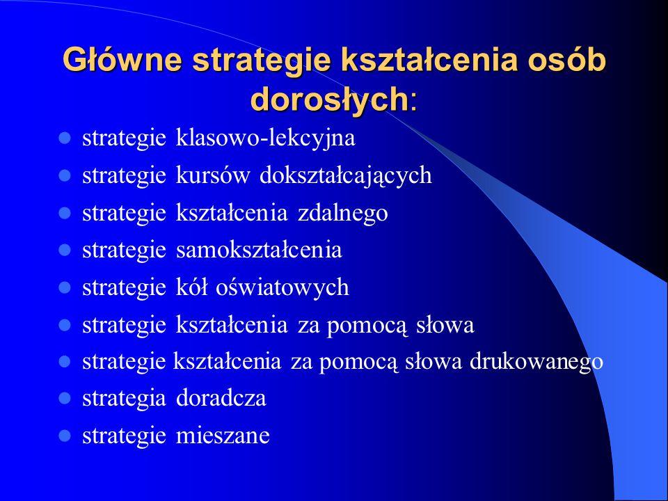 Główne strategie kształcenia osób dorosłych: