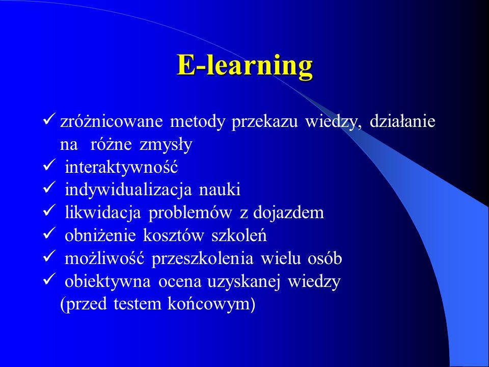 E-learning zróżnicowane metody przekazu wiedzy, działanie na różne zmysły. interaktywność. indywidualizacja nauki.