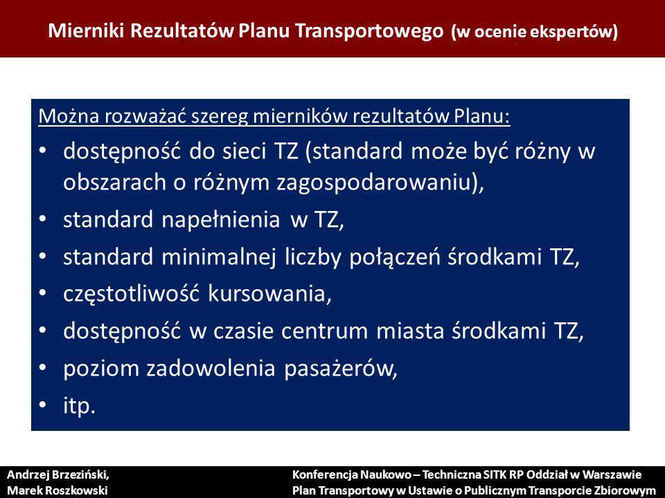 Mierniki Rezultatów Planu Transportowego (w ocenie ekspertów)