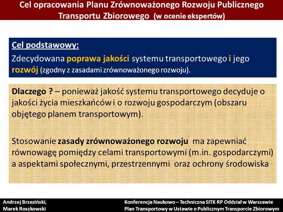 Cel opracowania Planu Zrównoważonego Rozwoju Publicznego Transportu Zbiorowego (w ocenie ekspertów)