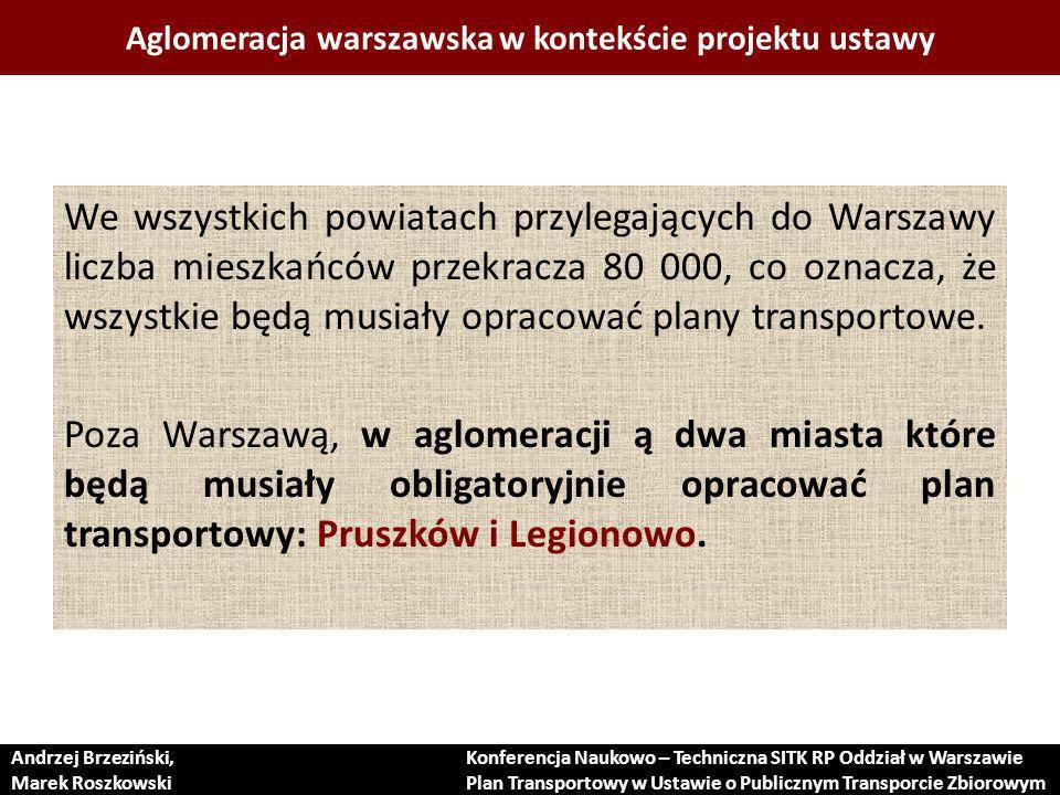 Aglomeracja warszawska w kontekście projektu ustawy