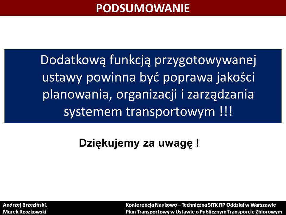 PODSUMOWANIE Dodatkową funkcją przygotowywanej ustawy powinna być poprawa jakości planowania, organizacji i zarządzania systemem transportowym !!!