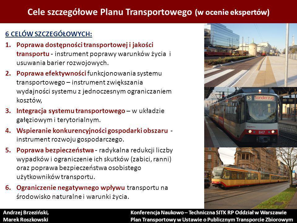 Cele szczegółowe Planu Transportowego (w ocenie ekspertów)