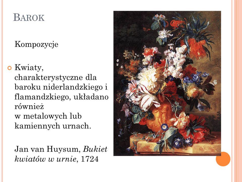 Barok Kompozycje. Kwiaty, charakterystyczne dla baroku niderlandzkiego i flamandzkiego, układano również w metalowych lub kamiennych urnach.