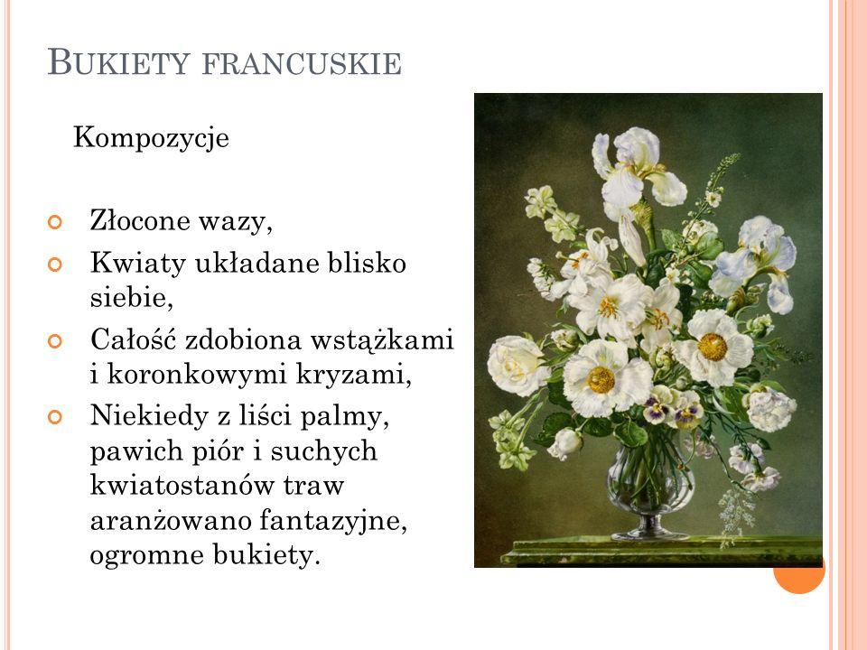 Bukiety francuskie Kompozycje Złocone wazy,