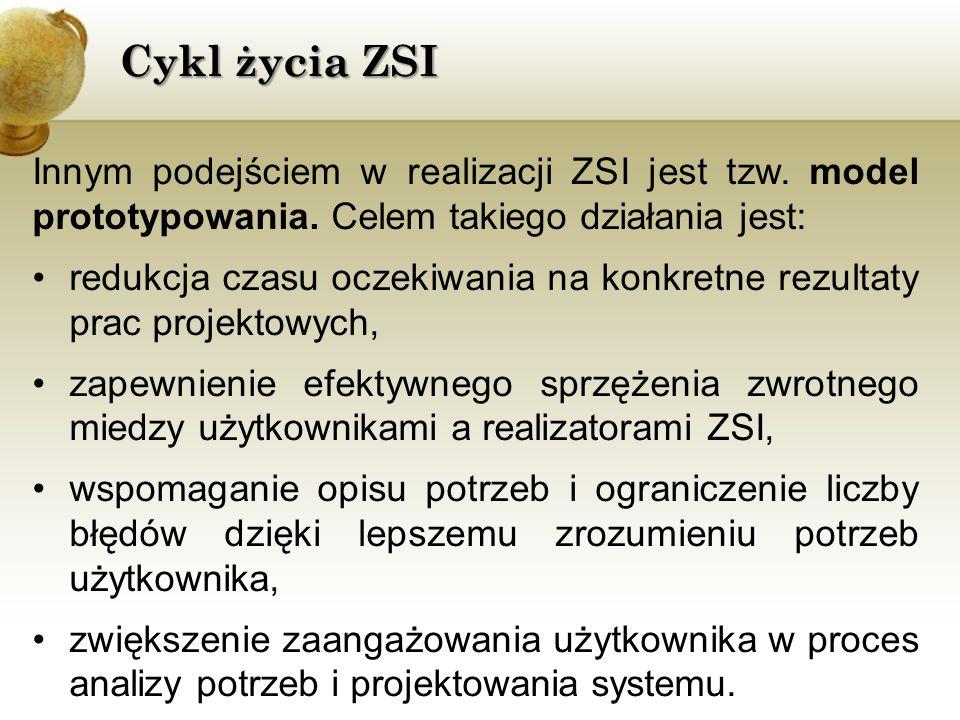 Cykl życia ZSI Innym podejściem w realizacji ZSI jest tzw. model prototypowania. Celem takiego działania jest: