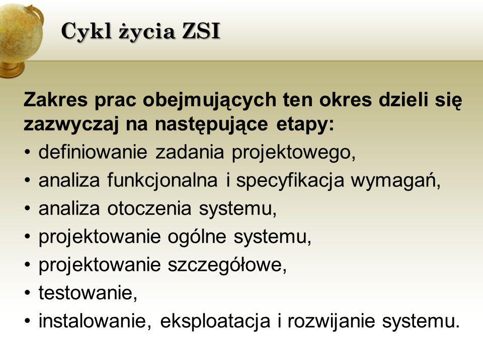 Cykl życia ZSI Zakres prac obejmujących ten okres dzieli się zazwyczaj na następujące etapy: definiowanie zadania projektowego,