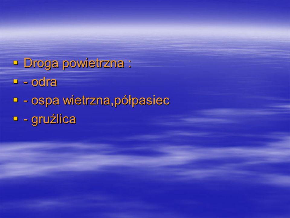 Droga powietrzna : - odra - ospa wietrzna,półpasiec - gruźlica